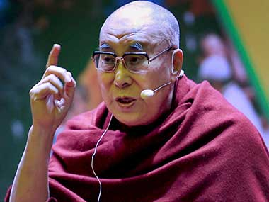 Dalai Lama speaks during the inauguration of 'The World of Children' initiative in New Delhi. PTI