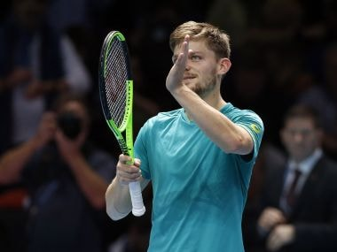 David Goffin celebrates after defeating Dominic Thiem in men's singles tennis match at the ATP World Finals. AP