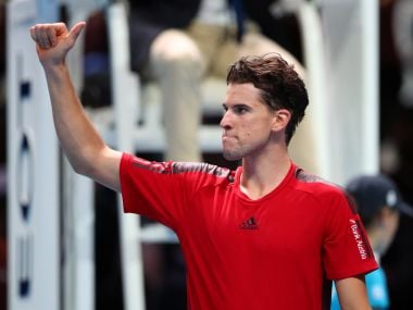 Dominic Thiem celebrates after winning his match against Pablo Carreno Busta. Reuters