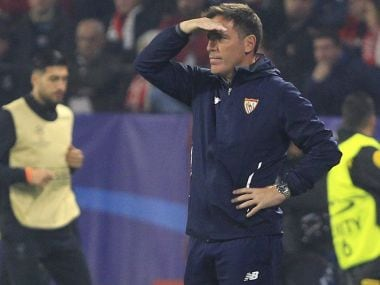 Sevilla coach Eduardo Berizzo during the Champions League match against Liverpool. AP