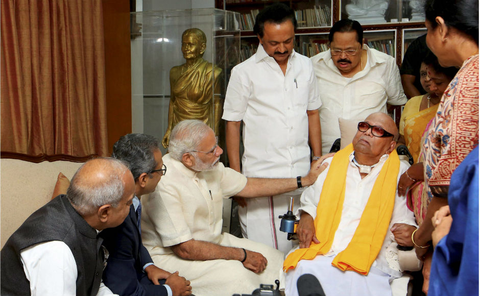 Prime Minister Narendra Modi was in Chennai for a short trip on Monday, to participate in the 75th anniversary celebrations of Tamil daily <em>Dina Thanthi</em>. He also called on DMK supremo M Karunanidhi and enquired about his health. PTI