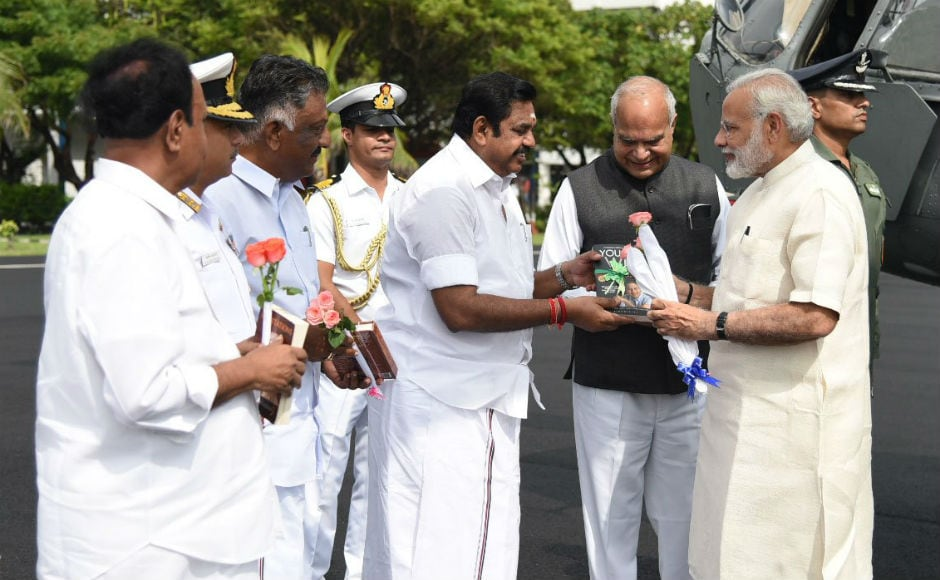 Modi also discussed the flood situation in various parts of Tamil Nadu with Chief Minister K Palaniswami and Deputy Chief Minister O Panneerselvam. He assured the state government of all flood-related assistance. Image courtesy: Twitter/@narendramodi