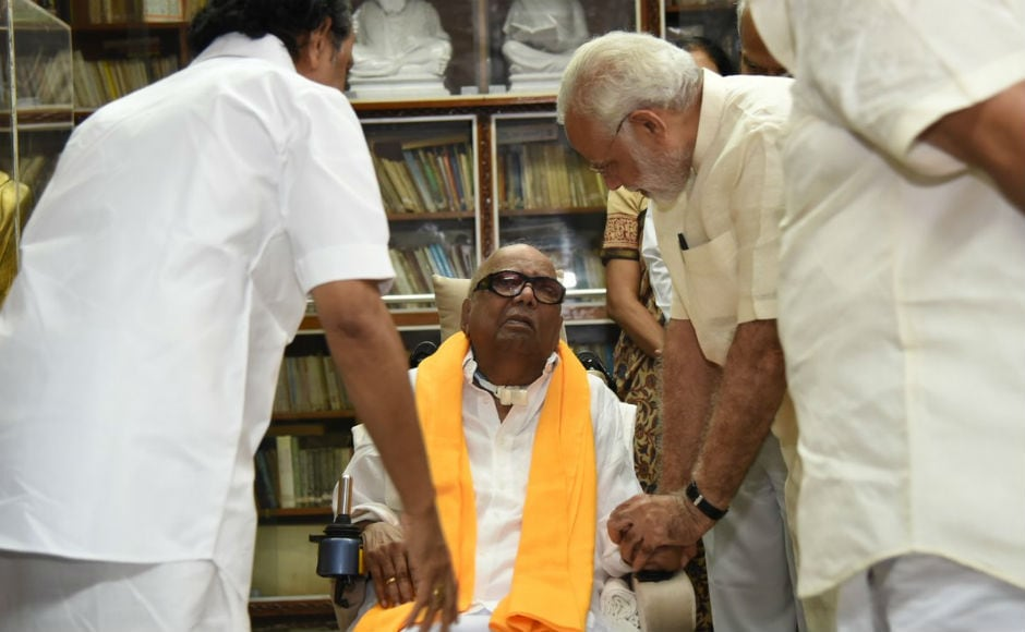 The prime minister was briefed about Karunanidhi's health by his doctor. This is the first time Modi has met the 93-year-old veteran at his residence. Image courtesy: Twitter/@narendramodi