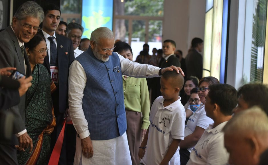 The prime minister also visited Mahaveer Philippine Foundation that provides free Indian-made prosthesis 'Jaipur Foot' to needy amputees. Modi also interacted with children at the foundation. Twitter @narendramodi