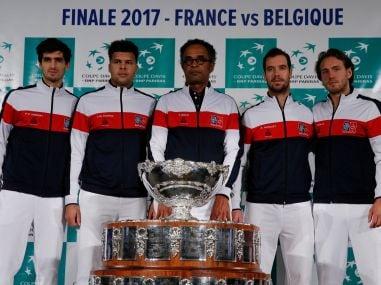 France captain Yannick Noah, Lucas Pouille, Jo-Wilfried Tsonga, Richard Gasquet and Pierre-Hugues Herbert pose with the Davis Cup trophy. Reuters