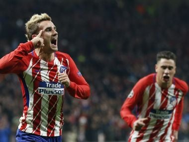 Atletico's Antoine Griezmann celebrates after scoring against Roma. AP