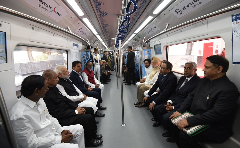 After inaugurating the Metro, Modi and Telangana chief minister K Chandrasekhar Rao took a ride on it, travelling from Miyapur to Kukatpally. The other leaders included Governor of Andhra Pradesh and Telangana ESL Narasimhan and Urban affairs minister Hardeep Singh Puri. PIB