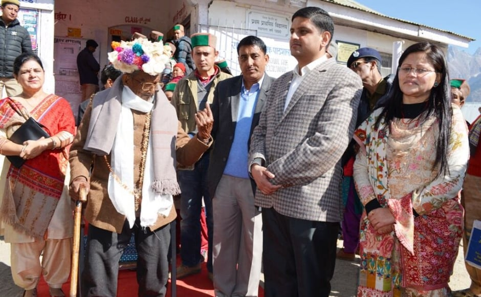 Shyam Sharan Negi (101), the first voter of India, cast his vote for the 15th time in Assembly polls at Kalpa in Kinnaur district. Image credit: S Chauhan