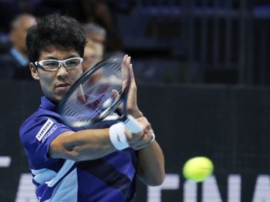 Hyeon Chung returns to Andrey Rublev during the ATP Next Gen finals. AP