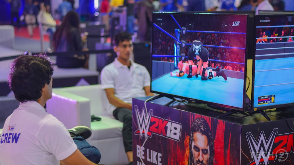 Other gaming titles like NBA 2018 and the WWE2K18 were also available at the event for gamers to game on. Image: tech2/Rehan Hooda