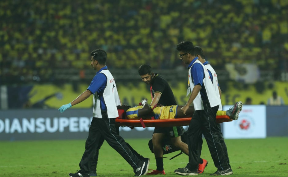 Courage Pekuson of Kerala Blasters is stretchered off after picking up an injury mid-game. ISL