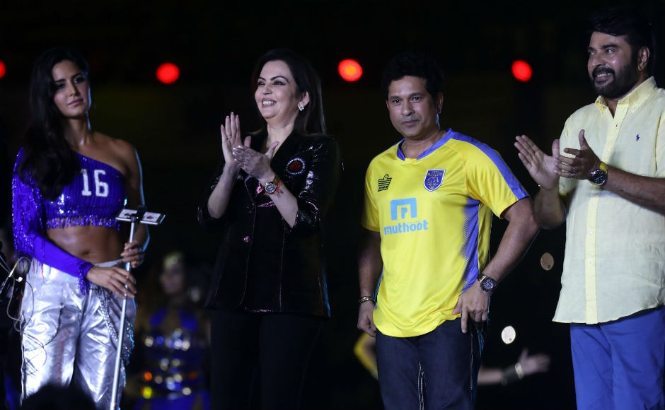 Katrina Kaif, Nita Ambani, founding chairperson of ISL Sachin Tendulkar, Former India cricket player and co-owner of Kerala Blasters FC, and Mammootty during the opening ceremony of the Hero Indian Super League held at the Jawaharlal Nehru Stadium in Kochi. ISL
