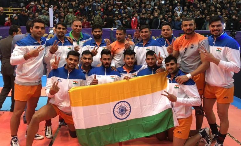 Indian men's kabaddi team pose with their gold medals after winning Asian Kabaddi Championships. Image Courtesy: AKFI
