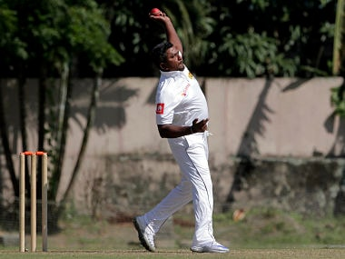 Sri Lanka's Rangana Herath bowls a delivery on the second day of their two-day warm up cricket match against Indian Board President's XI in Kolkata, India, Sunday, Nov. 12, 2017. (AP Photo/Bikas Das)