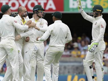 Nathan Lyon celebrates the wicket of Dawid Malan of England on Sunday. AP