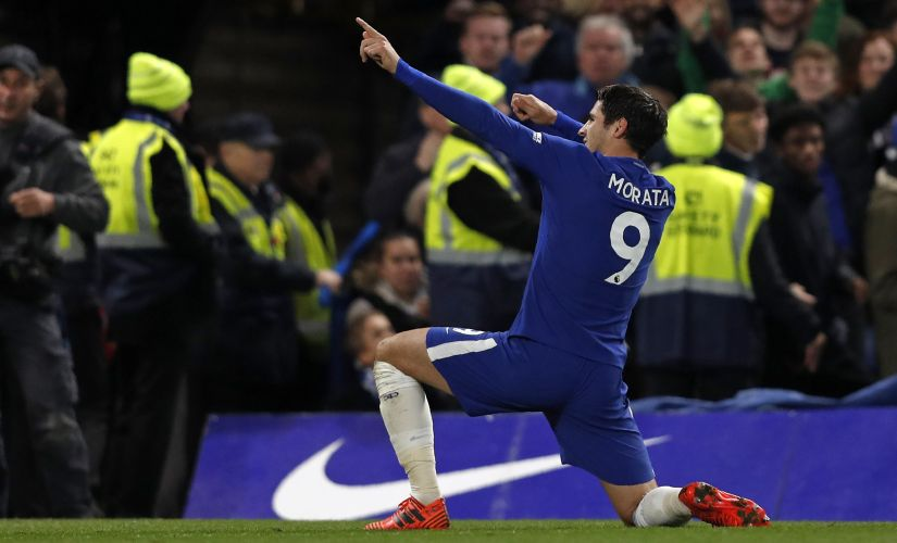 Chelsea's striker Alvaro Morata celebrates scoring the opening goal during their match against Manchester United. AFP
