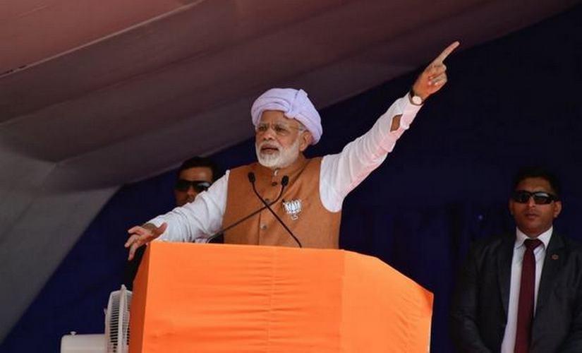 Narendra Modi addressing a rally in Amreli, Gujarat. Firstpost/ Pallavi Rebbapragada
