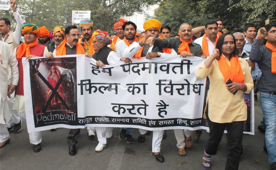 Members of the Rajput community in Faridabad also raised slogans and held placards during the protest against in Haryana. PTI