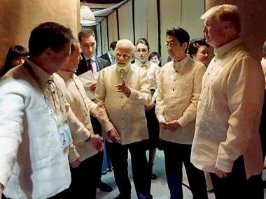 Narendra Modi with Donald Trump and Shinzo Abe at the Quad dialogue in Manila. PTI