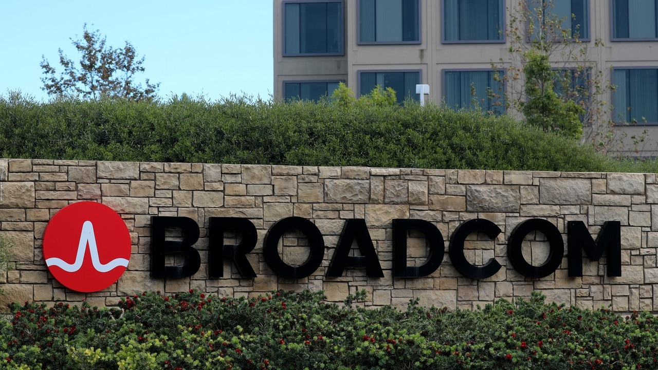 A sign to the campus offices of chip maker Broadcom Ltd, who announced on Monday an unsolicited bid to buy peer Qualcomm Inc for $103 billion, is shown in Irvine, California, U.S., November 6, 2017. REUTERS/Mike Blake - RC161E769B90