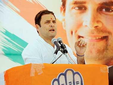Congress vice-president Rahul Gandhi addressing a public rally at Pranjit, in Gandhinagar on Saturday. PTI