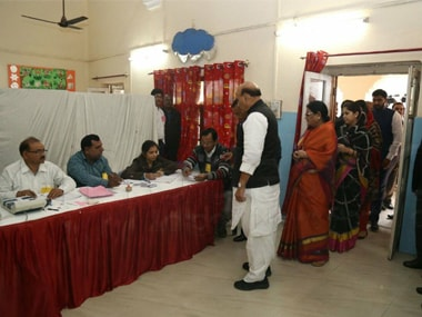 Union home minister Rajnath Singh casts his vote in Lucknow.