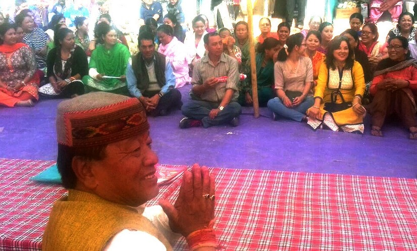 Gorkha candidate Ravinder Rana during a public meeting in Dharamshala. Image courtesy: 101Reporters/Sat Singh