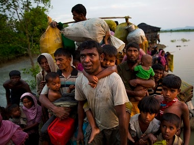 File image of Rohingya Muslims crossing the border from Myanmar into Bangladesh. AP