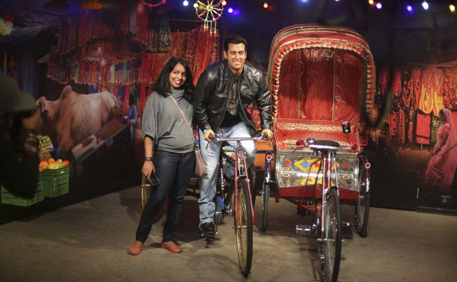 A visitor poses next to a wax figure of Bollywood actor Salman Khan. New Delhi's Madam Tussauds museum has become the 23rd Madam Tussauds museum worldwide and will house wax statues of Indian and international icons. AP