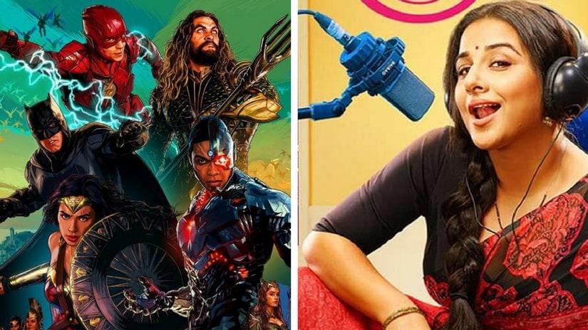 Justice League poster (left); Tumhari Sulu (right). Images via Facebook