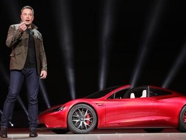 Elon Musk revealing Tesla Roadster.