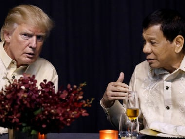 US president Donald Trump and his Filipino counterpart Rodrigo Duterte at ASEAN Summit on Sunday. Reuters