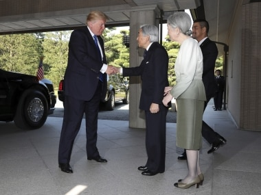US president Donald Trump with Japan emperor Akihito. AP
