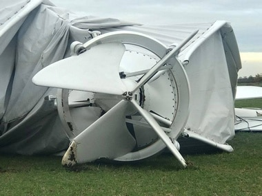 Part of the collapsed airship Airlander 10 is seen in Bedfordshire, Britain. Reuters