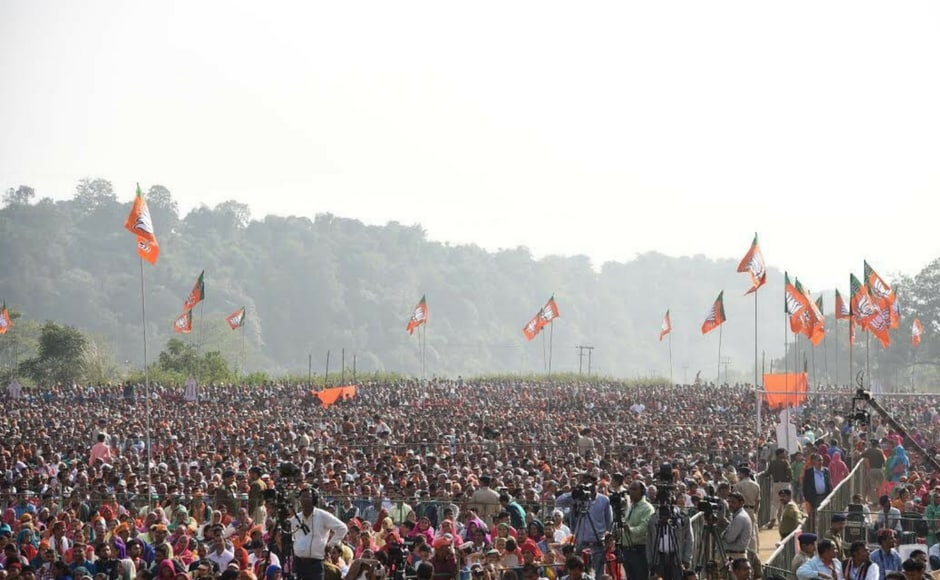Thousands gather for Modi's rally at Una. Himachal Pradesh goes to polls on 9 November. Twitter@BJP4India