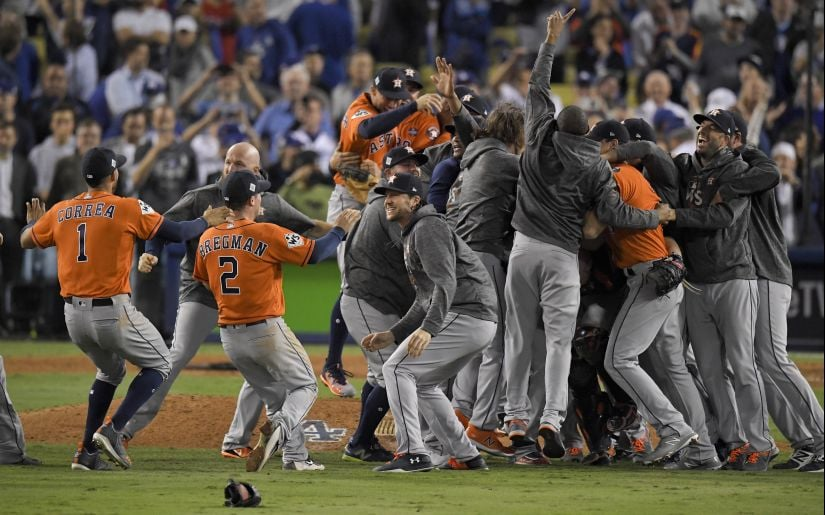 The Houston Astros celebrate after their win against the Los Angeles Dodgers in Game 7 of baseball's World Series. AP