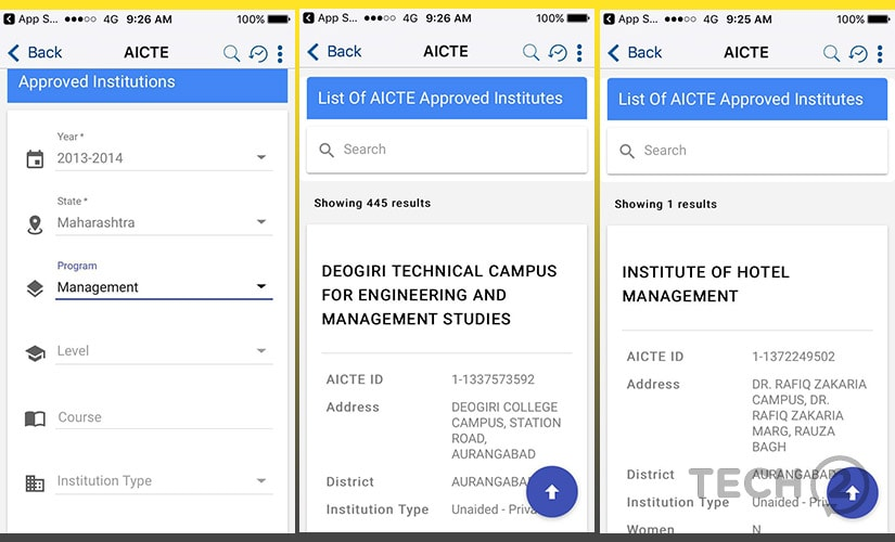 The AICTE service allows users to narrow down on institution according to the given criteria