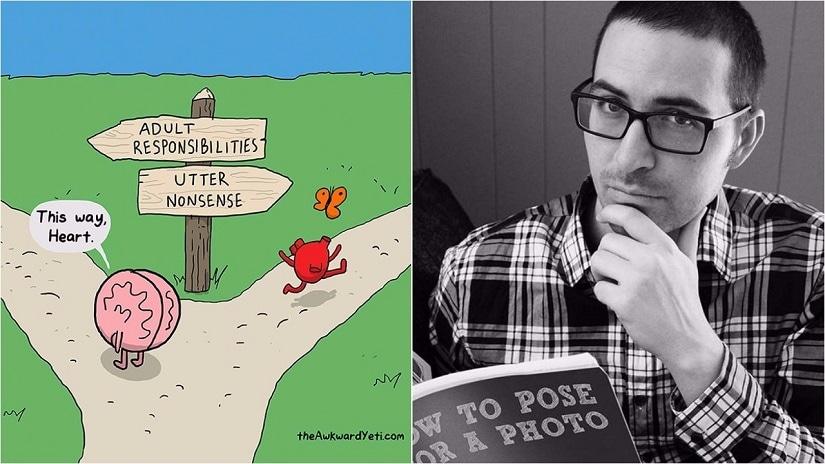 A Heart and Brain strip; The Awkward Yeti creator Nick Seluk