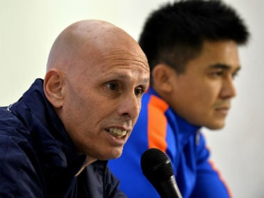 File image of India coach Stephen Constantine (L) and captain Sunil Chhetri. AFP