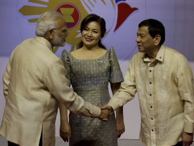 Prime Minister Narendra Modi welcomed by Philippine President Rodrigo Duterte on Sunday. AP