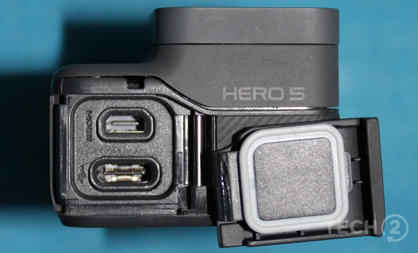 The slots on the left side of the camera.