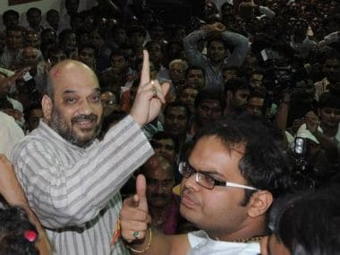 File image of Jay Shah with Amit Shah. AFP