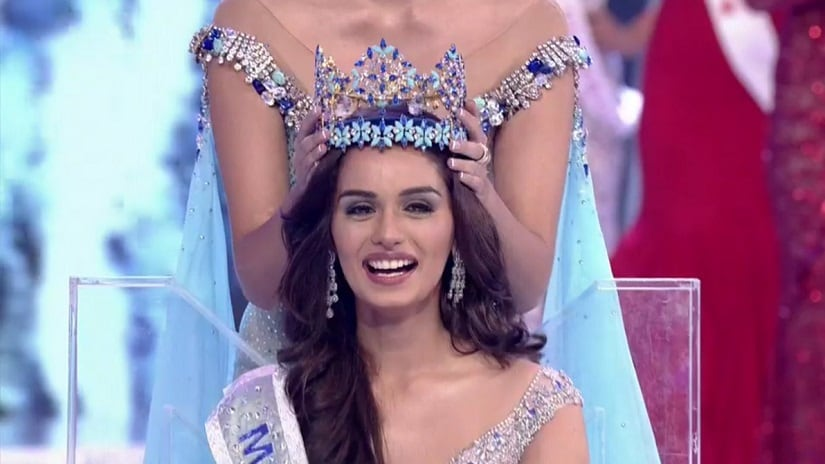 Miss World 2017 Manushi Chhillar is the sixth Indian to be crowned with the top honours. Image via Twitter/@praneysharma