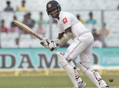 Sri Lanka's Angelo Mathews plays a shot during the third day of their first Test against India in Kolkata. AP