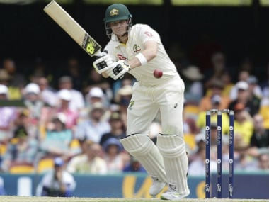 Australian captain Steve Smith plays a shot during Day 3 of the first Ashes Test against England in Brisbane. AP