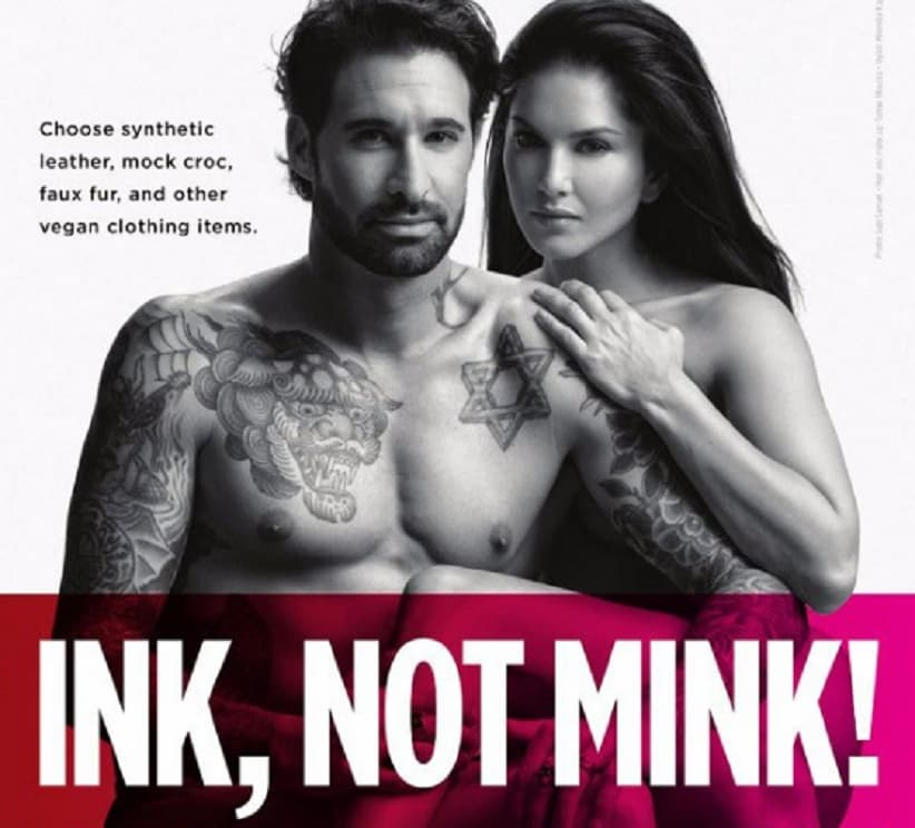 Sunny Leone and Daniel Weber in the new PETA ad. Image from Twitter/@FilmGyan