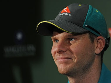Australian captain Steve Smith speaks at a press conference on the eve of the third Ashes cricket Test match in Perth on December 13, 2017. / AFP PHOTO / Greg Wood / -- IMAGE RESTRICTED TO EDITORIAL USE - STRICTLY NO COMMERCIAL USE --