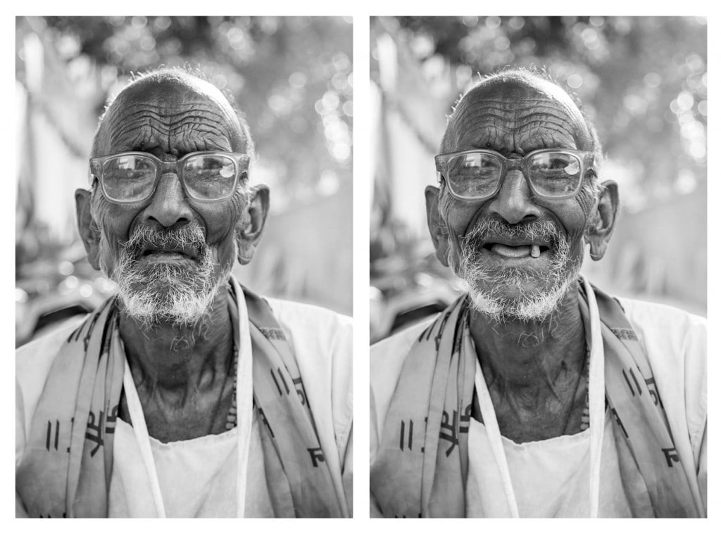 He was sitting outside a home one afternoon, in a quiet neighborhood of Vrindavan, Uttar Pradesh, India…so I asked him to smile. Photo credit © Jay Weinstein