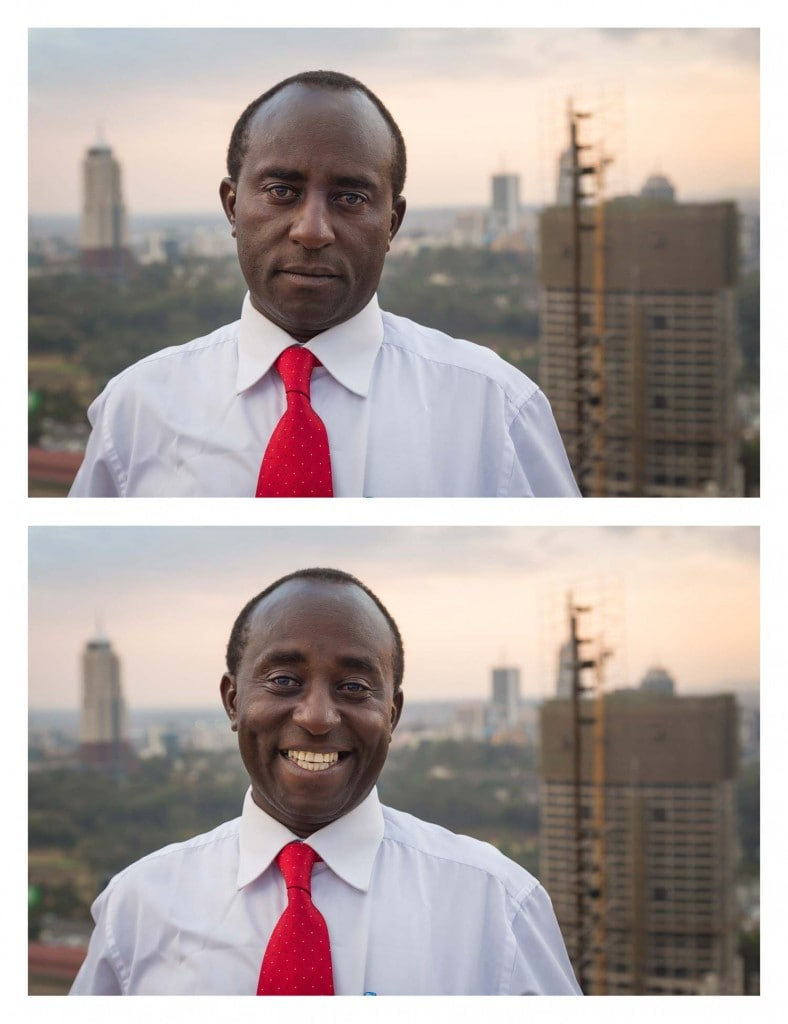 He was with a group of dancers taking a break from recording a church choir music video on the helipad of the Kenyatta International Convention Centre, while the sun set over Nairobi, Kenya... so I asked him to smile. Photo credit © Jay Weinstein