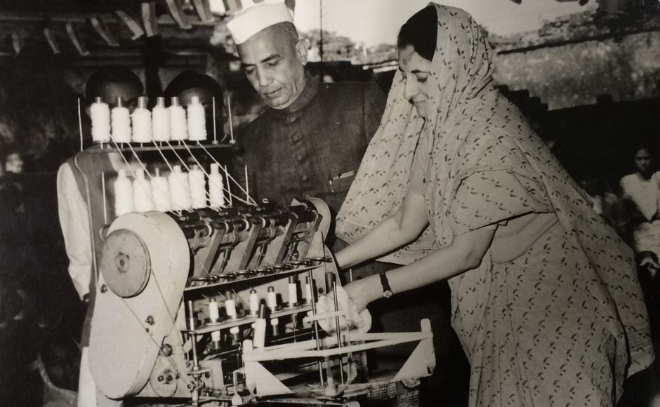 Smt. Indira Gandhi inaugurates the new Ambar Charkha at the Women and Children Center in Rai Bareilly. Also seen is Charan SiIngh, the then Chief Minister of Uttar Pradesh. January 2, 1968. Courtesy Indira Gandhi Memorial Museum